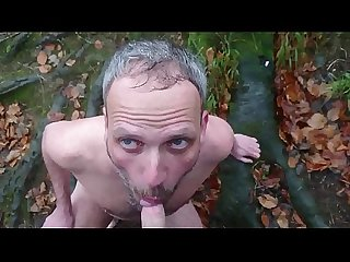 faggot drinks piss in the woods
