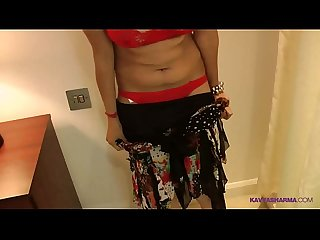 Indian girl kavya in red lingerie