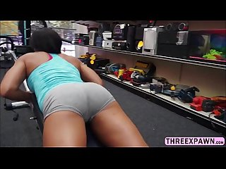 Ebony black gym trainer gets naked and willing to gets fucked in the pawnshop