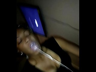Ebony milf slut vomit puking milk on bbc