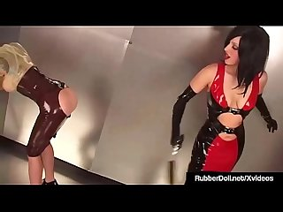 RubberDoll & Rubber Painted Lady Spanked In Open Ass Skirts!
