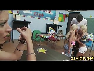 Hot threesome fuck in the classroom
