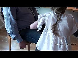 Young girl spanked in front of a group of older men
