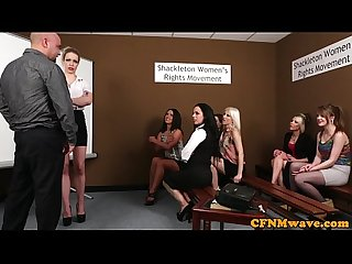 Cfnm femdoms humiliating wanking dude