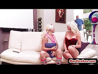 Hot mean lesbians punish new office secretary with a strap on 15