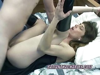 Slutty sammi in a black dress and getting fucked