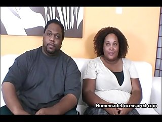 BBW Fluffy ebony couple fucking hard