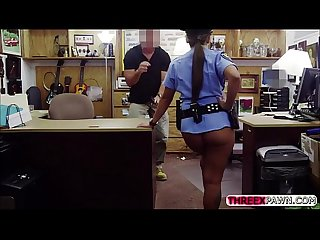 Sexy and beautiful police officer get her big booty banged