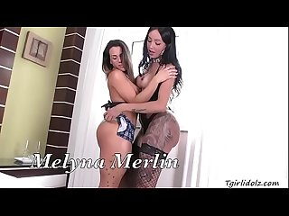 Hot Transbabe Thais Tavares and Melyna Merlin hot anal threesome
