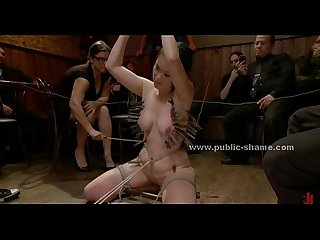 Tied Sex slave with large breasts extreme bondage group Sex in public club Video