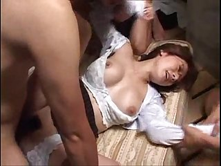 Pretty glasses japanese aki got hard gangbang