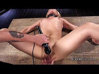 Bound and spread blonde babe gets anal fingered