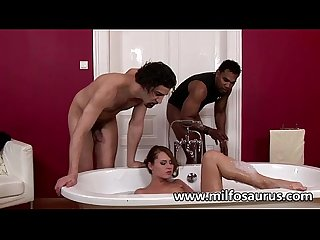 Horny milf gets fucked by 2 mofos