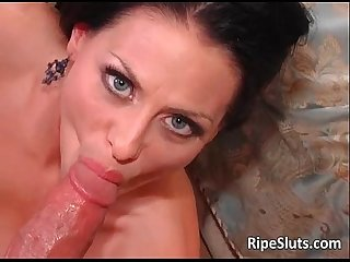 Busty mature brunette rides big cock