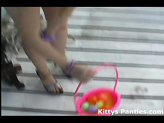 Innocent 18yo kitty hunting for easter eggs