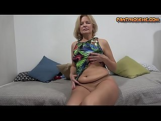Blonde Mature MIlf Cindy In Her Summer Dress and Nude Pantyhose Showing Pantyhose And Masturbating