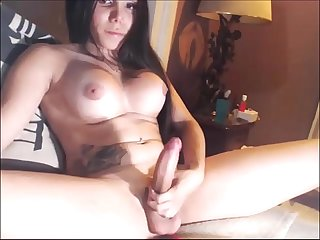 Big Tits Latina shemale cumming on bed - tscamdolls.com
