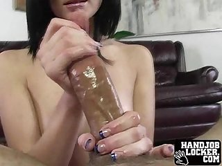 Girl handles huge cock