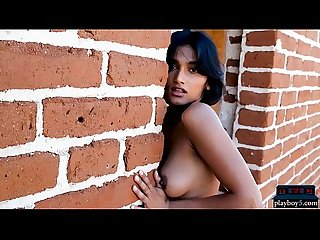 Perfect Indian babe Angel Constance outdoor striptease and posing