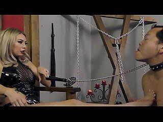 Mistress kat dior makes her slave kiss her feet femdom