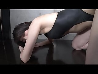 Yuki saki front opening swimsuit black part2 legs fetish image Video no sound solo