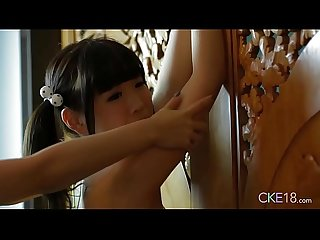 Shy Japanese teen Uri's body touched and massaged with oil