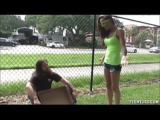 Sexy teen jerks off a homeless guy
