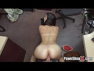 Whore in shorts visits my pawn shop and gets big dick in her pussy xp15248