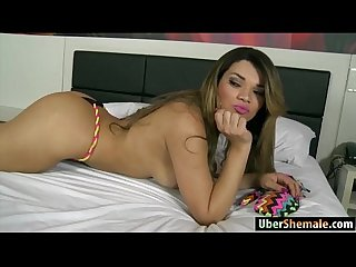 Latina Ts paulinha lima gives head and anal rides a big cock