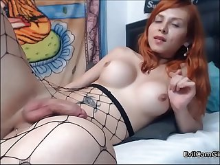 Cute redhead trap showing killer body in fishnet watch next part on evilcamgir