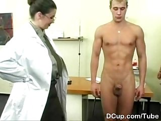 Busty medical captain enjoying new recuits cum shower