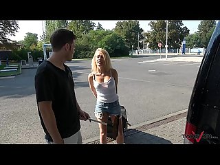 Takevan english whore jump into car and pay for ride with her body