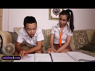Asian boy sucks off ladyboy study partner schoolgirl