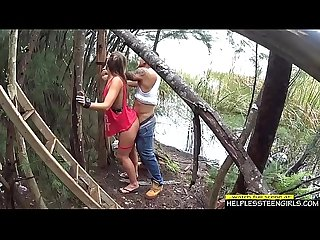 Teen bondaged in the woods