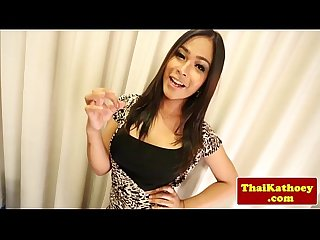 Busty thai shemale tgirl plays with cock
