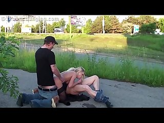 Hot blondie fucked in public by 2 guys