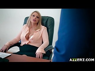 Hot blonde brooklyn chase got drilled in her office