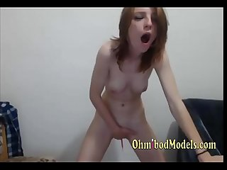 Slim petite brunette Moaning from ohmibod pleasure