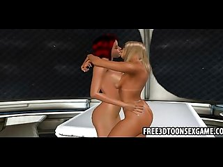 3d cartoon captain of a spaceship has a hot threeway