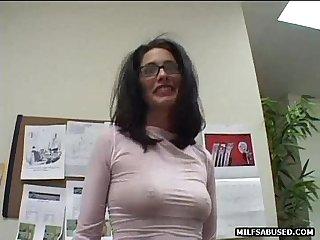 Sexy MILF hottie in glasses taking her clothes off