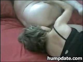Wife gives chubby hubby rimjob and handjob