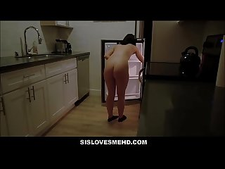 Young teen step sister fucked by step brother in kitchen pov