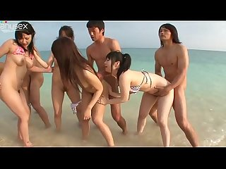 Japanese Group Beach Sex!!