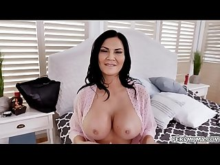 MILF star Jasmine Jae looks stunning in a fishnet outfit while deepthroating a giant cock with an..
