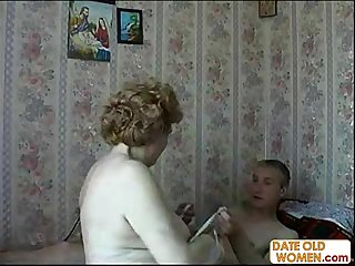 Russian old grandmother cheat with young guy