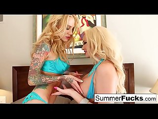 Busty blondes Summer and Sarah toy each other's pussies