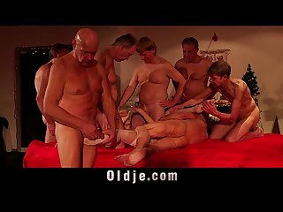Orgy for Christmas sexy girl Nesty gangbang fucking 8 old men
