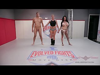 Tattooed MILF Jen Hexxx grinds and bites Racker's balls in this winner-fucks-loser mixed gender..