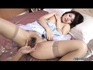 Stockinged Asian idol needs help while toying her wet twat
