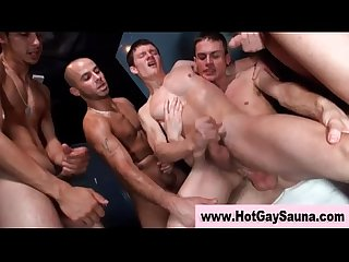 Steamy fuck and suck orgy in sauna